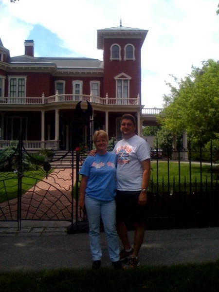 Sharon & Brian in front of Stephen King's house.JPG