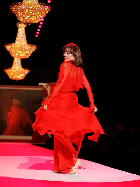 . Valerie Harper models a Pamela Roland design from The Heart Truth Red Dress collection, Thursday, Feb. 11, 2010 during Fashion Week in New York. (AP Photo/Stephen Chernin)