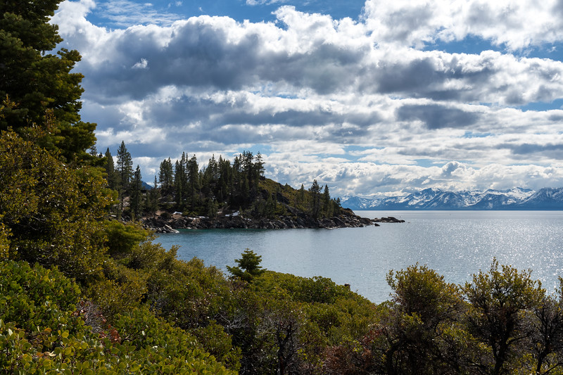 View of Lake Tahoe and mountains from Nevada side