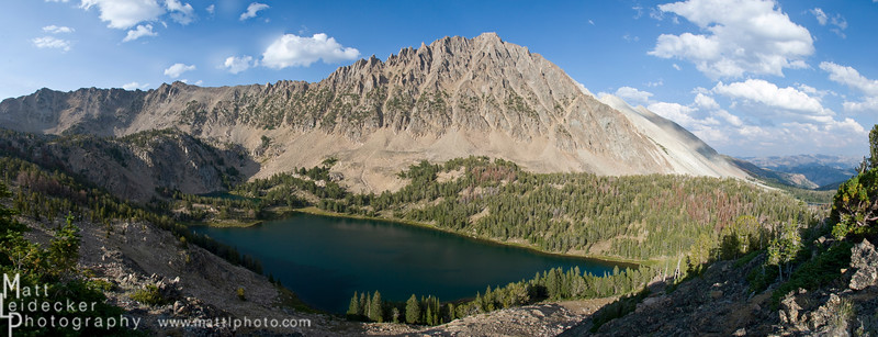 Castle Peak and Chamberlain Lake from the Chamberlain Divide. Native image dimensions - 12 x 31