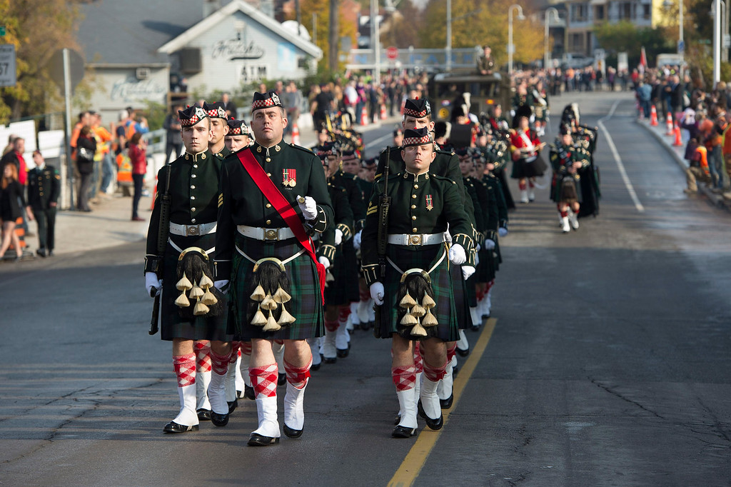 . Members of the Argyll and Sutherland Highlanders Regiment marches during the funeral procession of Cpl. Nathan Cirillo in Hamilton, Ontario,  on Tuesday, Oct. 28, 2014.   (AP Photo/The Canadian Press, Frank Gunn)
