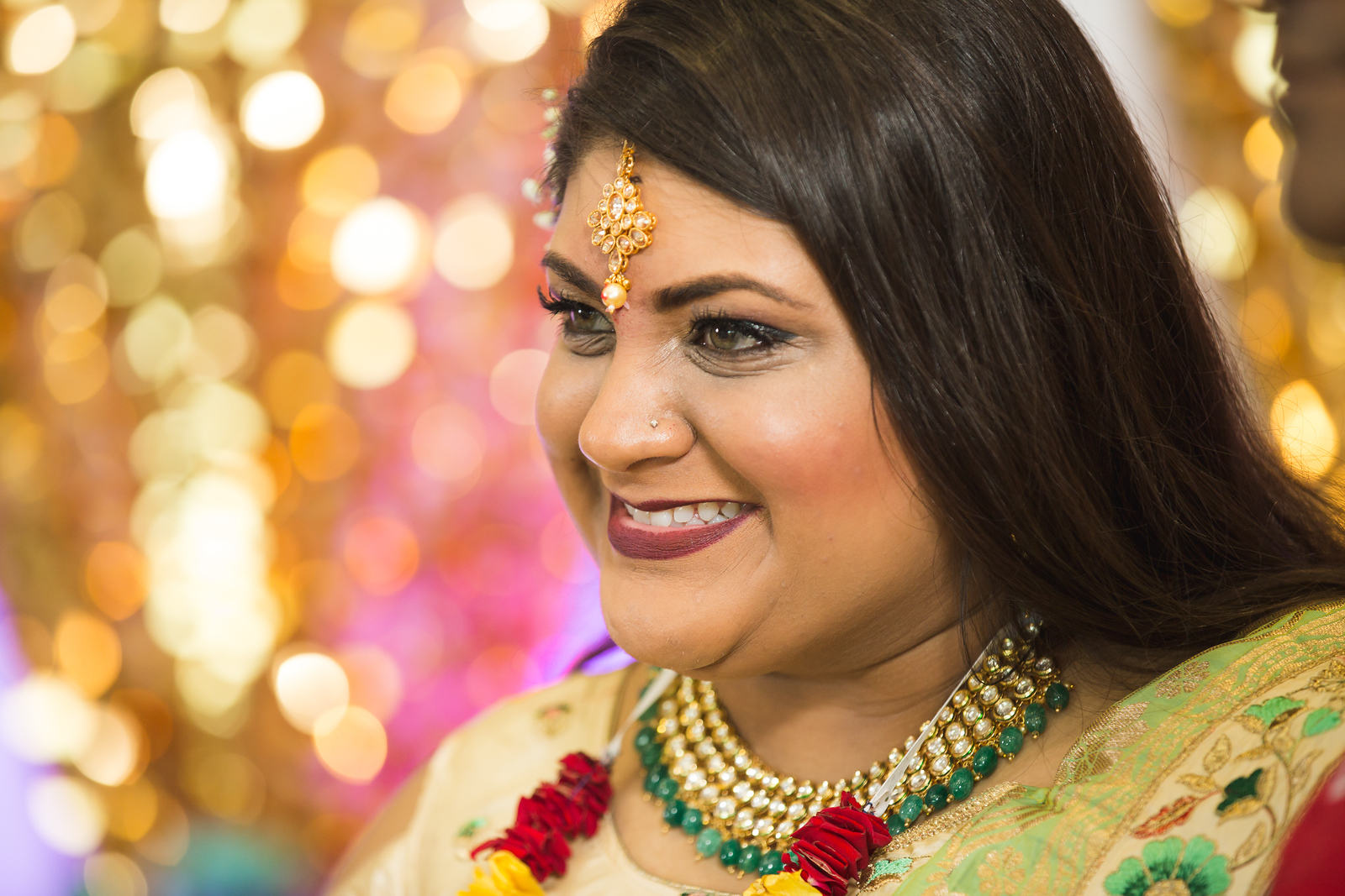 Hindu bride at her 3 day wedding celebration in Oklahoma