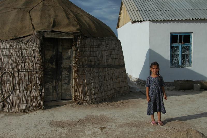 Girl Outside Her House - Jerbent, Turkmenistan