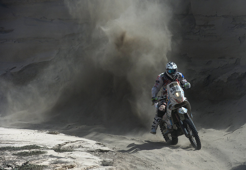 Description of . JANUARY 8: Thomas Bourgin of team Nomade Racing Assistance competes in stage 4 from Nazca to Arequipa during the 2013 Dakar Rally on January 8, 2013 in Nazca, Peru. (Photo by Shaun Botterill/Getty Images)