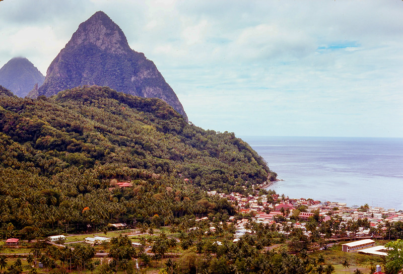 These two pitons are now a World Heritage Site, and the village is Soufriere.