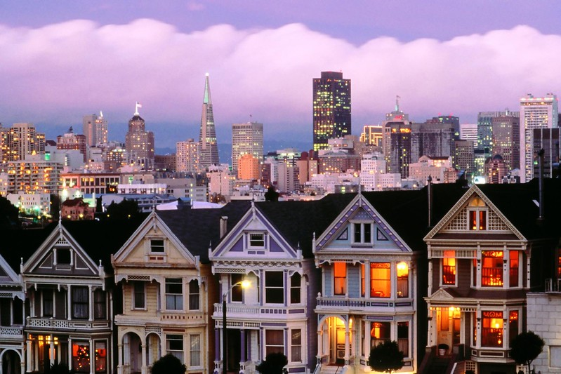 Victorian Houses. Alamo Sq. San Francisco. CA. USA