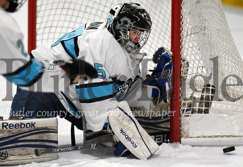 Harold Aughton/Butler Eagle: Seneca Valley goalie Cole Hoffman prepares to make a critical block in the second period to keep the score tied at 3-3. Seneca Valley pulled off the win in the third period against Butler, winning 4-3.