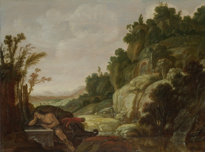 Mountain Landscape with Narcissus