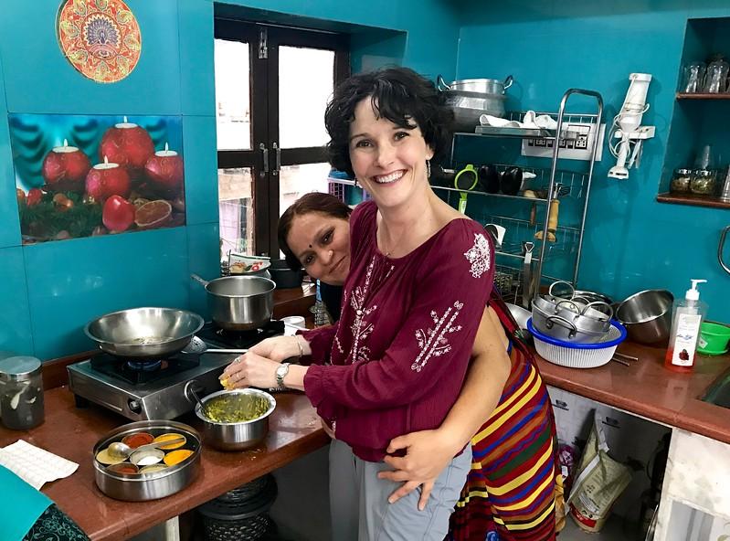 Rekha teaching me her art. - Incredible Krishna Cooking Class - Jodpur