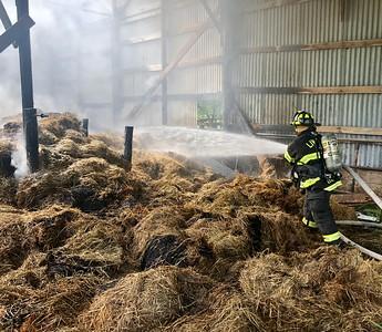 Hay on fire inside a barn  South Livonia Road,  Livonia, NY  - 8/1/20