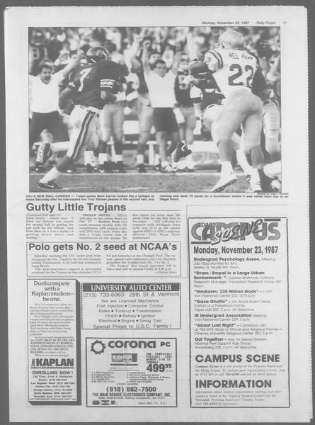 Daily Trojan, Vol. 105, No. 57, November 23, 1987