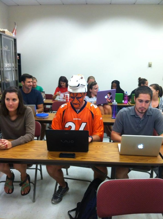 . Can you guess which guy in this pic is excited for the Broncos\' season opener? Photo by Ashley Anderson