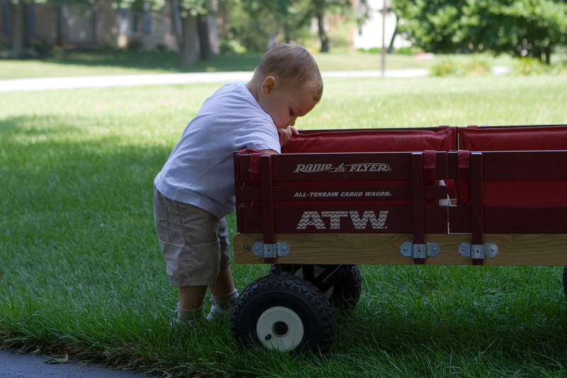 K.C. usually keeps a stash of rocks in his wagon.  Here he takes a break to check out his rock inventory.
