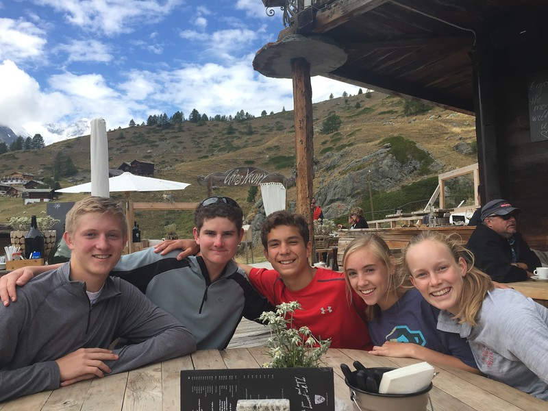 John, Fraser, Victor, Lilli, and Abigael enjoying lunch at Chez Vrony in Findeln