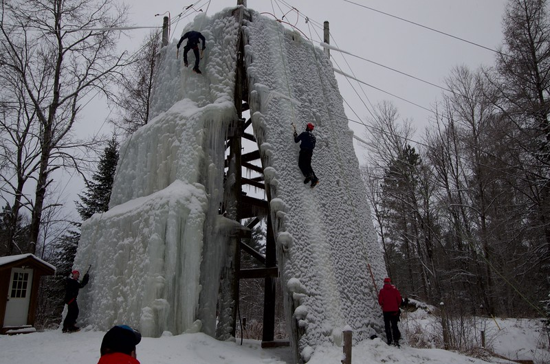 ice climbers on the medeba ice climbing tower
