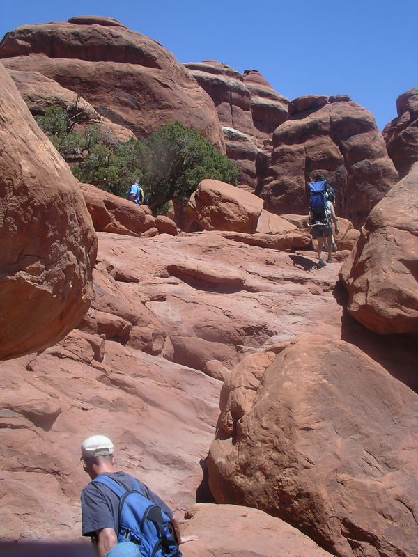 Fiery Furnace, Arches National Park, with the George family, Aaron and Ej, and kids Taidgh, and Cian.