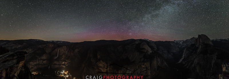 Milky way and Aurora over Yosemite 3, Glacier Point to Half Dome Pano