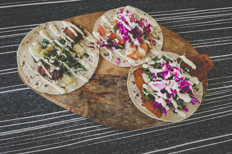 Tacos - from left to right: Pork Belly, Shrimp, Fried Fish.