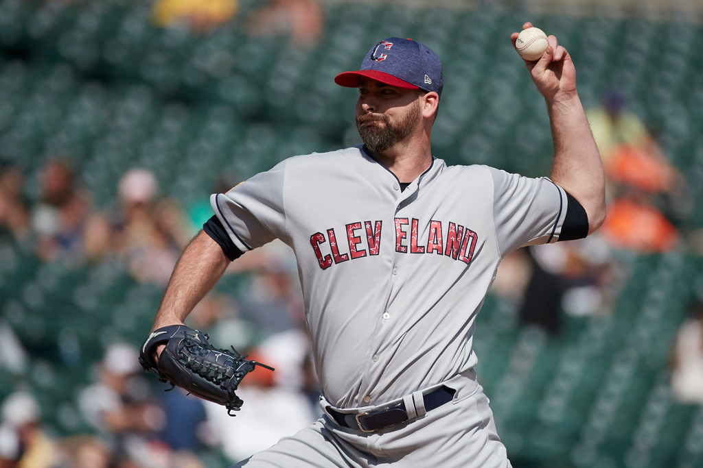 . Cleveland Indians relief pitcher Boone Logan pitches against the Detroit Tigers in the ninth inning of a baseball game in Detroit, Sunday, July 2, 2017. Cleveland won 11- 8. (AP Photo/Rick Osentoski)