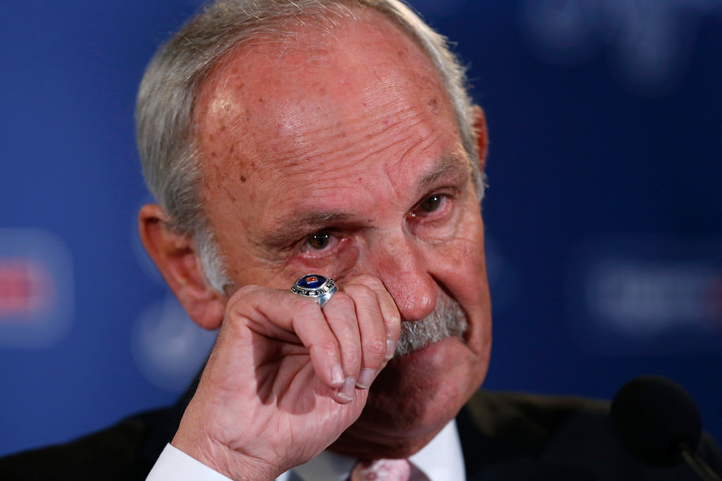 . Detroit Tigers baseball manager Jim Leyland announces he is stepping down as manager during a news conference at Comerica Park in Detroit, Monday, Oct. 21, 2013. (AP Photo/Paul Sancya)