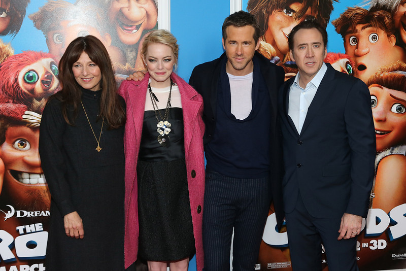 ". Actors Christine Keener, Emma Stone, Ryan Reynolds and Nicolas Cage attend ""The Croods\"" premiere at AMC Loews Lincoln Square 13 theater on March 10, 2013 in New York City.  (Photo by Neilson Barnard/Getty Images)"