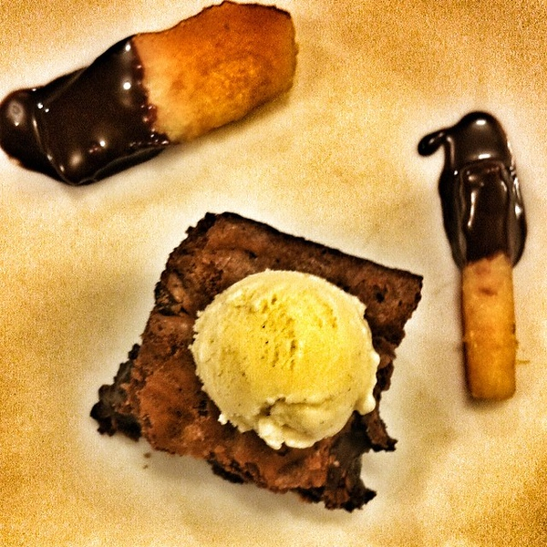 On the table tonite: Double Chocolate Brownie with Honey-Vanilla Gelato & Chocolate-Dipped Candied Blood Orange Peels #foodie #food #jux