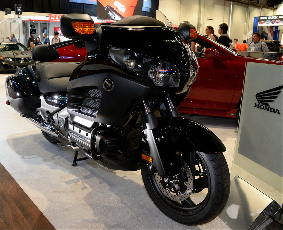 . Nov 6,2013 Las Vegas NV. USA. Honda\'s new Gold Wing F6B bike on display during the second day of the 2013 SEMA auto show. Photo by Gene Blevins/LA Daily News