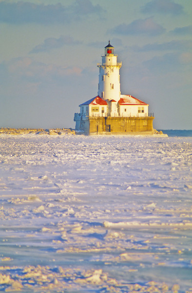 Chicago Harbor Light in Winter