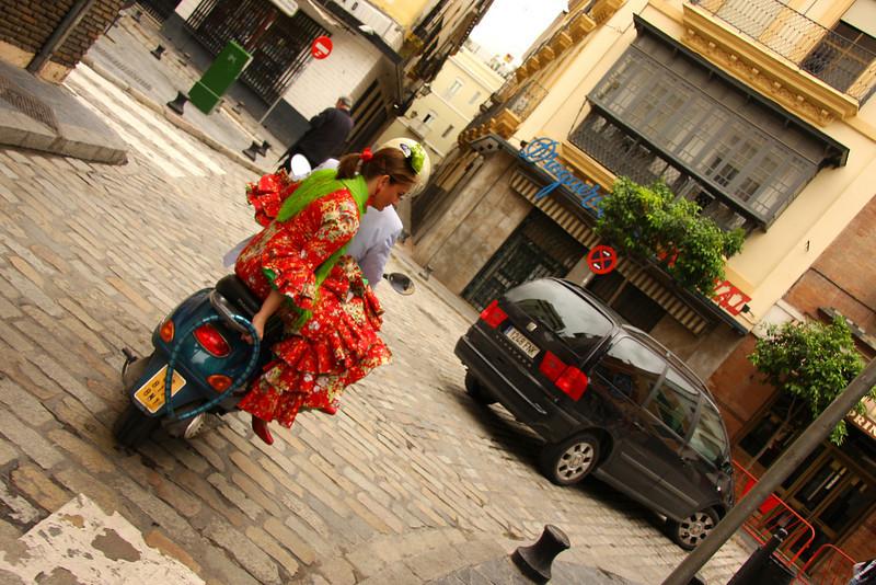 Feria de Avril festivities preparing in Seville, Spain