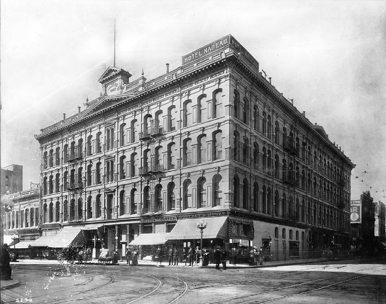 Exterior view of the Nadeau Hotel on Spring Street and First Street, Los Angeles, ca.1905