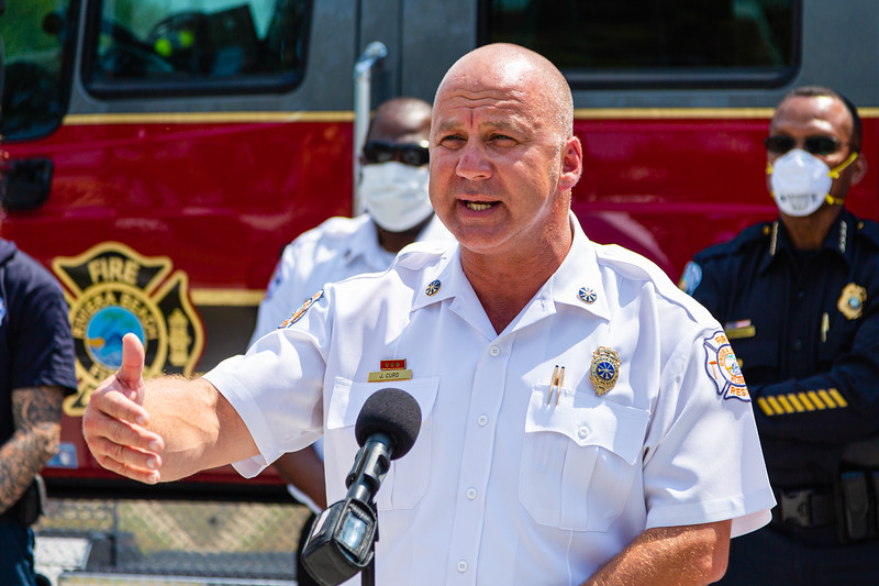 Riviera Beach Interim Fire Chief, John Curd, speaks to the press to thank SICA and Amrit for the PPE that was delivered to the Riviera Beach Fire Station #87 in Riviera Beach on Wednesday, April 8, 2020. [JOSEPH FORZANO/palmbeachpost.com]