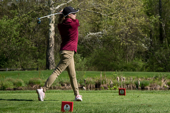 05/8/19 Wesley Bunnell | Staff Berlin girls golf defeated New Britain at Timberlin Golf Course on Wednesday afternoon. New Britain's Leah Saccente with her tee shot on a par three.