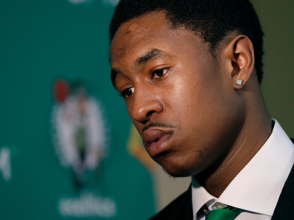 . Newly acquired Boston Celtics player MarShon Brooks listens to a question in Waltham, Mass., Monday, July 15, 2013, during an NBA basketball news conference to introduce players the team acquired from the Brooklyn Nets in exchange for Kevin Garnett and Paul Pierce. (AP Photo/Elise Amendola)