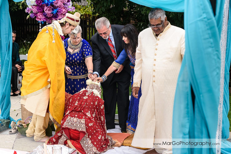 parents blessing during indian wedding ceremony at Brazilian Room - Tilden Regional Park, Berkeley