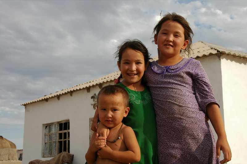 Sisters with Little Brother - Jerbent, Turkmenistan