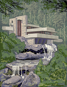 """Fallingwater"", a rendering of Wright's masterpiece; published in the Claremont Review of Books;  Summer 2017"