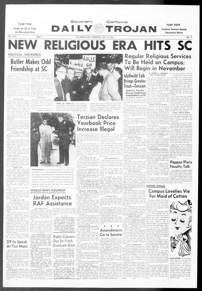 Daily Trojan, Vol. 48, No. 19, October 17, 1956