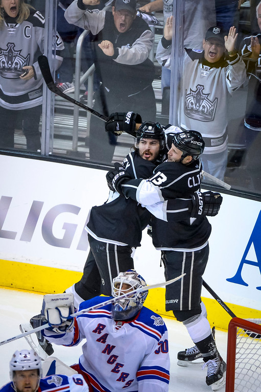 . Kings Drew Doughty and Kyle Clifford celebrate Doughty\'s goal in the second period at Game 1 of the Stanley cup Finals at Staples Center Wednesday, June 4, 2014 ( Photo by David Crane/Los Angeles Daily News )