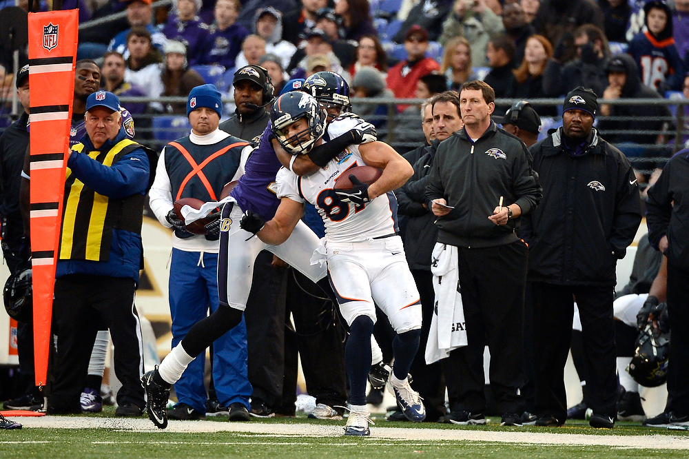 . Denver Broncos wide receiver Eric Decker #87 makes a sideline catch at the M&T Bank Stadium, in Baltimore, MD Sunday December 16, 2012.      Joe Amon, The Denver Post