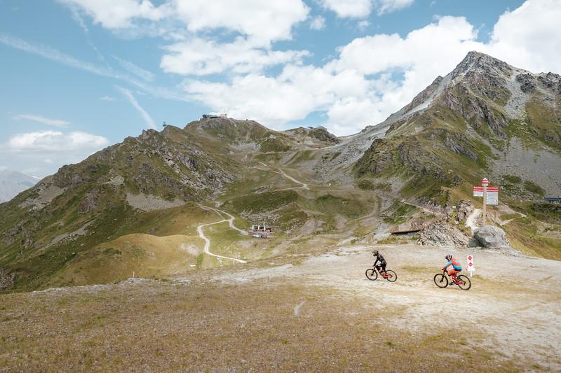Mountain bikers in Verbier