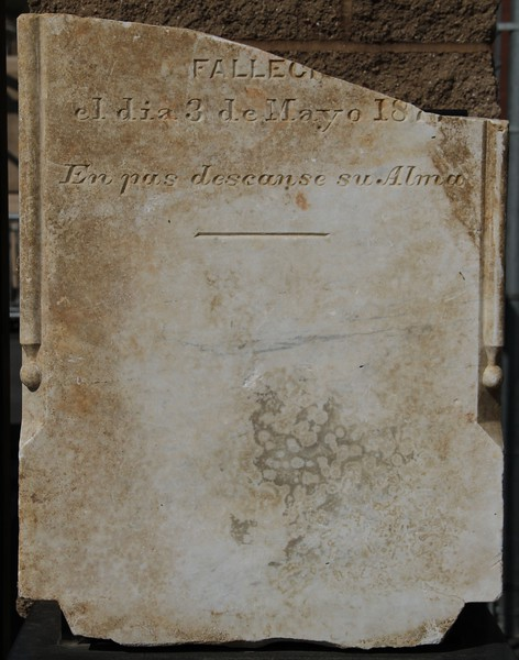 1877, Unknown Spanish Tombstone