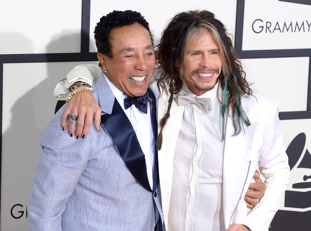 . Smokey Robinson and Steven Tyler arrive at the 56th Annual GRAMMY Awards at Staples Center in Los Angeles, California on Sunday January 26, 2014 (Photo by David Crane / Los Angeles Daily News)