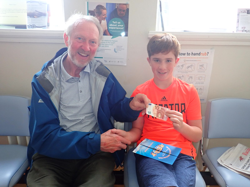 Diarmuid Healy chats to Brian at the hospital