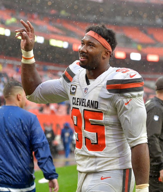 . Cleveland Browns defensive end Myles Garrett (95) walks off the field after the Browns and the Pittsburgh Steelers tied at 21 during an NFL football game, Sunday, Sept. 9, 2018, in Cleveland. (AP Photo/David Richard)