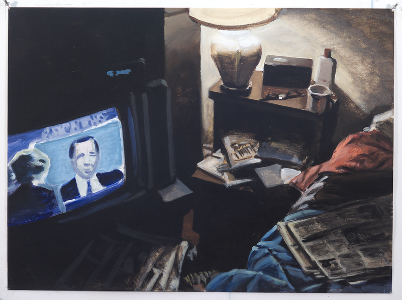 Untitled (nightstand and TV); acrylic on paper, 22 x 30 in, 1990
