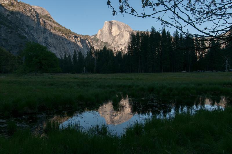 El Capitan as seen from Merced River meadows in Yosemite National Park