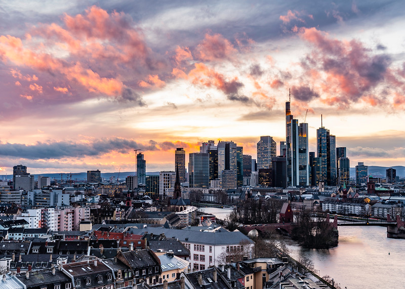 Frankfurt skyline at sunset