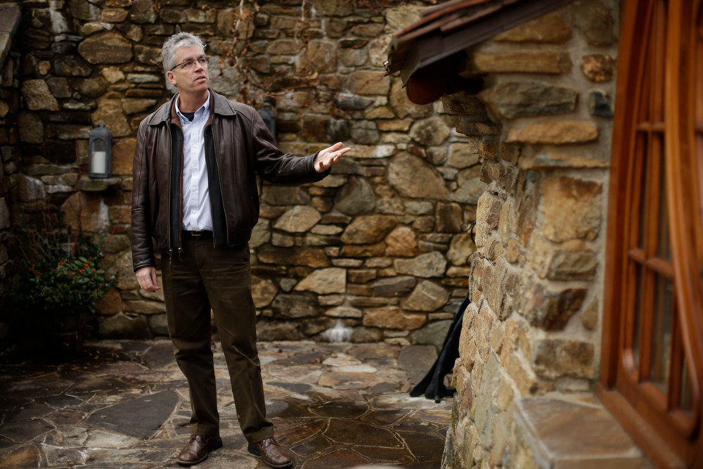 Description of . Architect Peter Archer speaks during and interview with the Associated Press at the ìHobbit Houseî Tuesday, Dec. 11, 2012, in Chester County, near Philadelphia.  Archer has designed a ìHobbit Houseî containing a world-class collection of J.R.R. Tolkien manuscripts and memorabilia. (AP Photo/Matt Rourke)