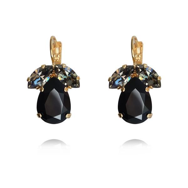 Timo Earrings / Jet + Black Diamond / Gold