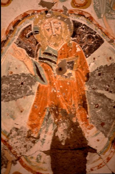 millennium old frescoe in rock-carved church